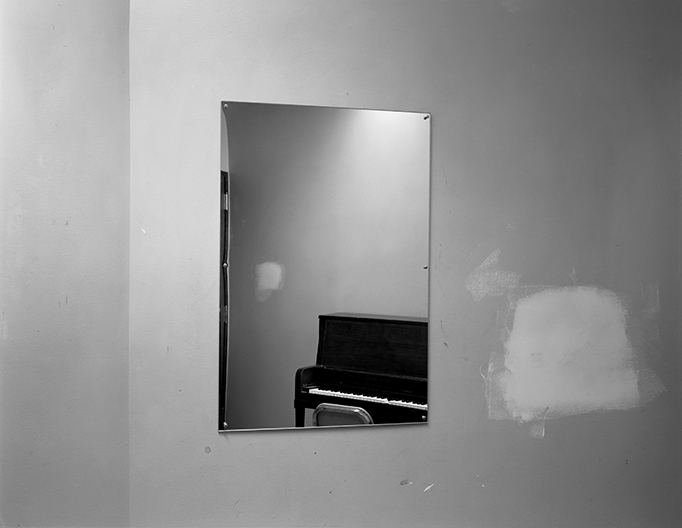 Untitled (mirror with piano and smudge), 1980-1989
